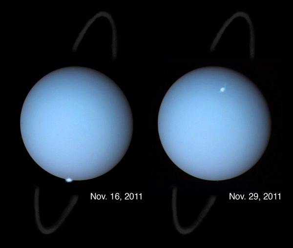 Фотографии космоса. Полярные сияния на Уране.