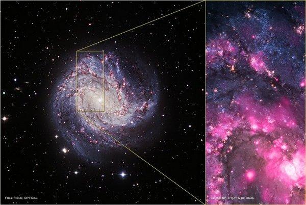 Фотографии космоса. Взрыв чёрной дыры в спиральной галактике М83.