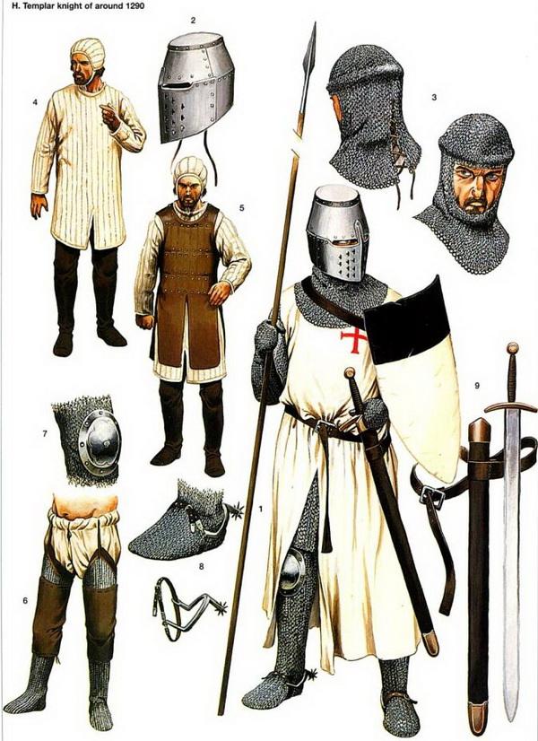Оружие и снаряжение рыцаря-тамплиера. Иллюстрация к книге «Рыцари-тамплиеры» Хелен Дж. Николсон.