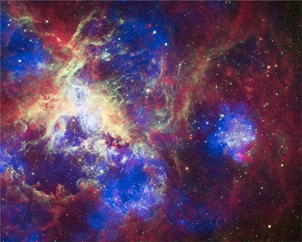 Фотографии космоса. Звёздообразующая область 30 Doradus в туманности «Тарантул».