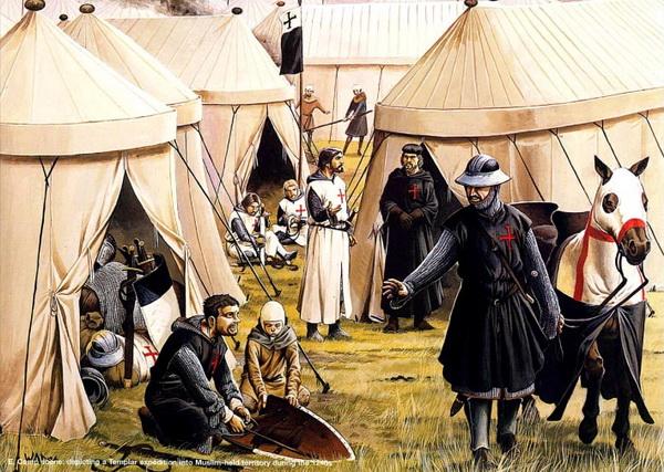 Лагерь тамплиеров. Иллюстрация к книге «Рыцари-тамплиеры» Хелен Дж. Николсон.