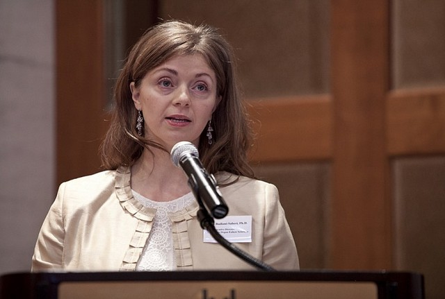 Дебра Будіані-Сабері, доктор філософії (Ph.D.), виконавчий директор громадської організації Organ-Failure Solutions, яка ставить своєю метою покласти край незаконній трансплантації і торгівлі органами, 14 лютого, Нью-Йорк.