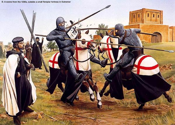 Поединок рыцарей-тамплиеров. Иллюстрация к книге «Рыцари-тамплиеры» Хелен Дж. Николсон, Osprey Publishing, 2004.