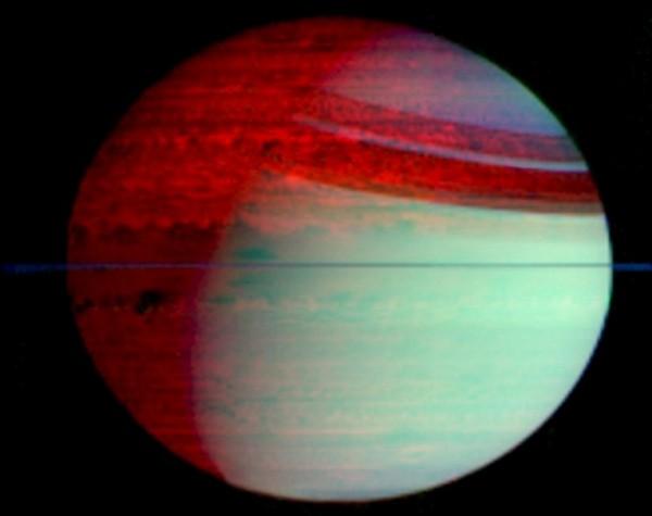 Фотографии космоса. Сатурн в инфракрасном свете.