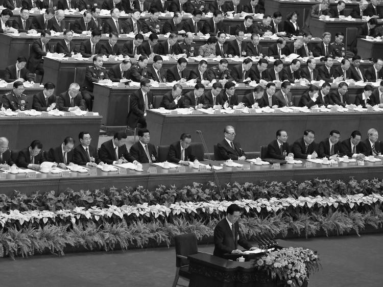 Глава компартии Китая Ху Цзиньтао выступает на открытии 18-го съезда компартии в Доме народного собрания в Пекине. Съезд проходил с 8 по 14 ноября. По его окончанию объявлены лидеры партии на следующие 5—10 лет. Фото: Feng Li/GettyImages.