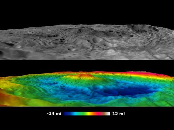 Фотографии космоса. Южный полюс Весты.