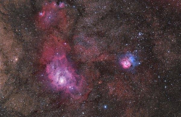 Фотографии космоса. Три туманности в созвездии Стрельца.