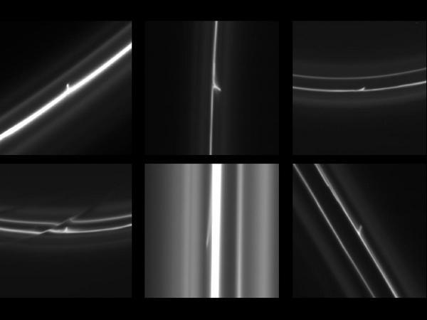 Фотографии космоса. Ледяные «снежки» в кольце Сатурна.