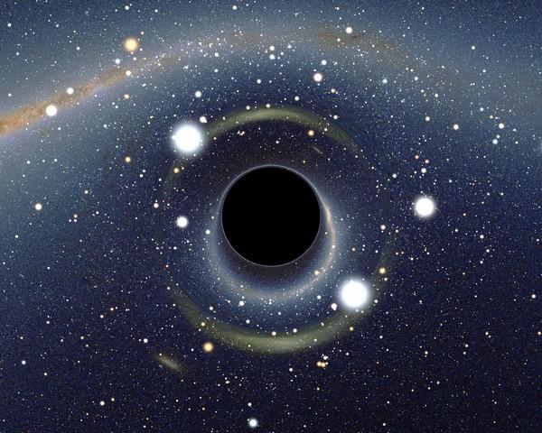 Фото 1. Чёрные дыры: имитация чёрной дыры перед Большим Магеллановым Облаком. Иллюстрация: Uk.wikipedia.org