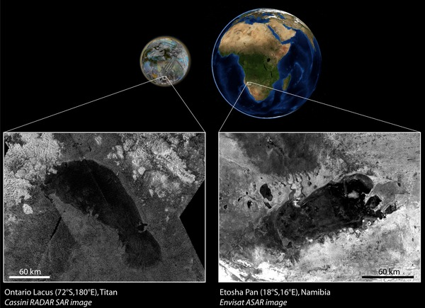 Фотографии космоса. Озеро Онтарио на Титане.